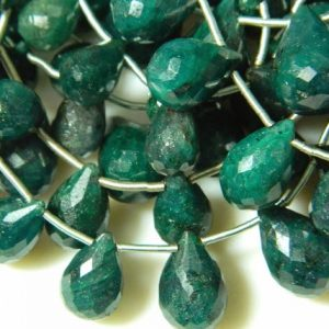 Green Corundum Briolettes, Emerald Beads, Faceted Tear Drop Beads, 18 Pieces, 6x10mm To 10x15mm Each | Natural genuine other-shape Gemstone beads for beading and jewelry making.  #jewelry #beads #beadedjewelry #diyjewelry #jewelrymaking #beadstore #beading #affiliate #ad