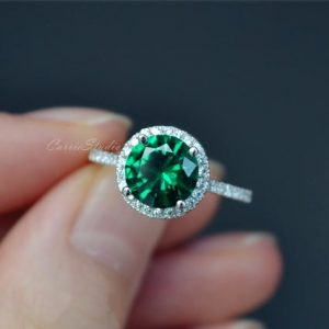 Shop Emerald Engagement Rings! Emerald Ring Emerald Engagement Ring/ Wedding Ring 925 Sterling Silver Ring Anniversary Ring Promise Ring | Natural genuine Emerald rings, simple unique alternative gemstone engagement rings. #rings #jewelry #bridal #wedding #jewelryaccessories #engagementrings #weddingideas #affiliate #ad