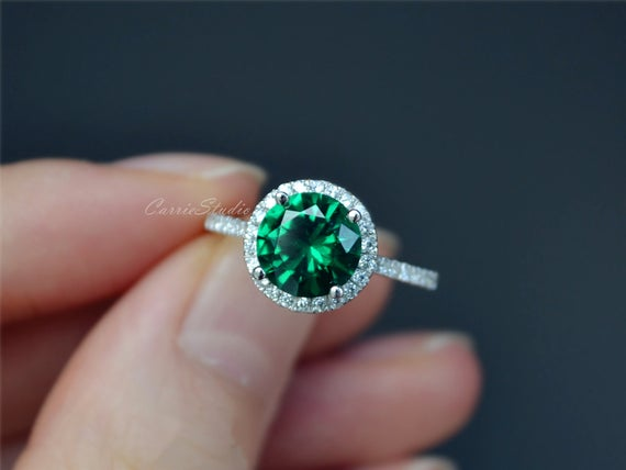 Emerald Ring Emerald Engagement Ring/ Wedding Ring 925 Sterling Silver Ring Anniversary Ring Promise Ring