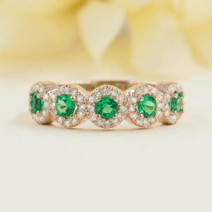 Genuine Emerald Wedding Band.Emerald & Diamond Wedding Ring.14k White,Yellow or Rose Gold Brilliant Round Cut Matching Diamond Wedding Band | Natural genuine Gemstone rings, simple unique alternative gemstone engagement rings. #rings #jewelry #bridal #wedding #jewelryaccessories #engagementrings #weddingideas #affiliate #ad