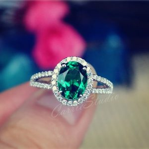 Shop Healing Gemstone Rings! Classic Oval Emerald Ring Emerald Engagement Ring Promise Ring Anniversary Ring | Natural genuine Gemstone rings, simple unique alternative gemstone engagement rings. #rings #jewelry #bridal #wedding #jewelryaccessories #engagementrings #weddingideas #affiliate #ad