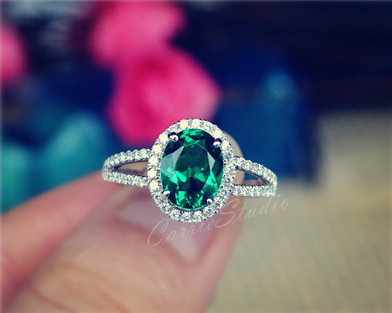 Classic Oval Emerald Ring Emerald Engagement Ring Promise Ring Anniversary Ring