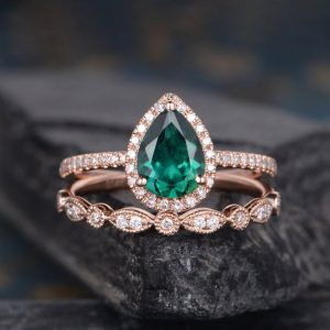 Shop Emerald Engagement Rings! Lab Emerald Engagement Ring Set Bridal Sets Pear Shaped Rose Gold Diamond Halo Promise May Birthstone Art Deco Women Anniversary Ring | Natural genuine Emerald rings, simple unique alternative gemstone engagement rings. #rings #jewelry #bridal #wedding #jewelryaccessories #engagementrings #weddingideas #affiliate #ad