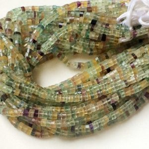 Shop Fluorite Faceted Beads! 4-6mm Fluorite Faceted Spacer Beads, Natural Multi Fluorite Beads, Multi Fluorite For Necklace, Fluorite Beads (6IN To 13IN Options) – APA29 | Natural genuine faceted Fluorite beads for beading and jewelry making.  #jewelry #beads #beadedjewelry #diyjewelry #jewelrymaking #beadstore #beading #affiliate #ad