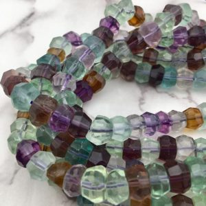 "Shop Fluorite Beads! Natural Fluorite Faceted Rondelle Beads Approx 9-10mm 15.5"" Strand 