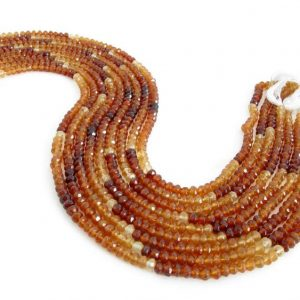 Shop Garnet Faceted Beads! 4mm Hessonite Garnet Rondelle Beads, Shaded Faceted Rondelles, 14 Inch Strand, Full Strand Orange Garnet, Genuine Hessonite Garnets, Hess204 | Natural genuine faceted Garnet beads for beading and jewelry making.  #jewelry #beads #beadedjewelry #diyjewelry #jewelrymaking #beadstore #beading #affiliate #ad