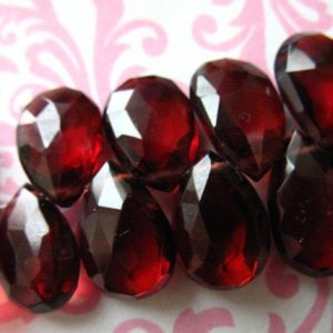 2-10 pcs, GARNET Pear Briolettes Beads, Large MOZAMBIQUE Garnet, Faceted 8-10 mm, Luxe AAA, Burgundy, January birthstone gemstone 810 solo | Natural genuine other-shape Garnet beads for beading and jewelry making.  #jewelry #beads #beadedjewelry #diyjewelry #jewelrymaking #beadstore #beading #affiliate #ad