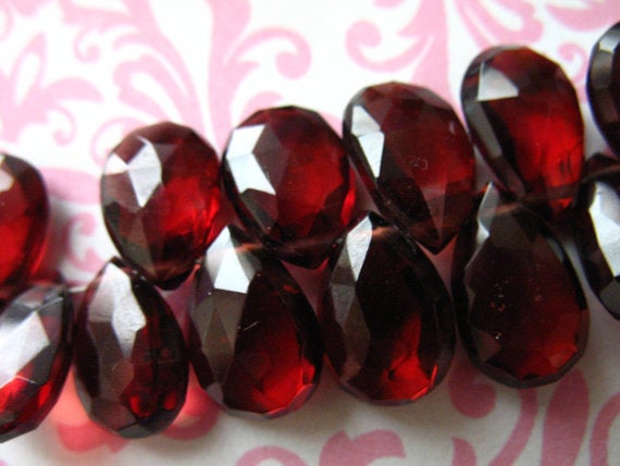 2-10 Pcs, Garnet Pear Briolettes Beads, Large Mozambique Garnet, Faceted 8-10 Mm, Luxe Aaa, Burgundy, January Birthstone Gemstone 810 Solo