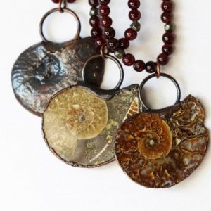 Shop Garnet Pendants! Ammonite Necklace – Fossil Jewelry – Garnet Jewelry – Large Stone Pendant – Unisex Necklace – Beaded Necklace | Natural genuine Garnet pendants. Buy crystal jewelry, handmade handcrafted artisan jewelry for women.  Unique handmade gift ideas. #jewelry #beadedpendants #beadedjewelry #gift #shopping #handmadejewelry #fashion #style #product #pendants #affiliate #ad