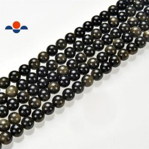 """Shop Golden Obsidian Beads! 2.0mm Hole Gold Sheen Obsidian Smooth Round Beads 6mm 8mm 10mm 15.5"""" Strand 