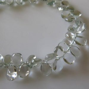 Shop Green Amethyst Beads! Uniform Size Natural Green Amethyst Smooth Pear Shaped Briolette Beads, 10 Inches Of 5x7mm Green Amethyst Beads, GDS755 | Natural genuine other-shape Green Amethyst beads for beading and jewelry making.  #jewelry #beads #beadedjewelry #diyjewelry #jewelrymaking #beadstore #beading #affiliate #ad