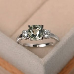 Shop Green Amethyst Rings! engagement ring,cushion cut,real green amethyst ring,natural gemstone ring,sterling silver ring | Natural genuine Green Amethyst rings, simple unique alternative gemstone engagement rings. #rings #jewelry #bridal #wedding #jewelryaccessories #engagementrings #weddingideas #affiliate #ad