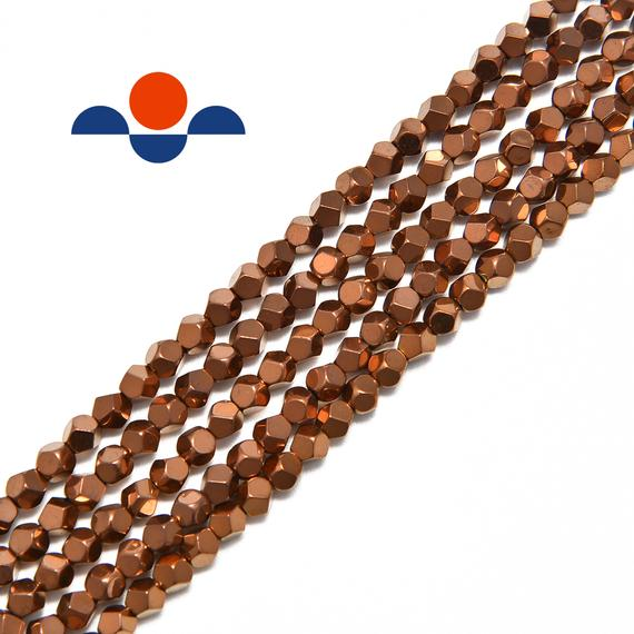 "Copper Plated Hematite Star Cut Nugget Beads 4mm 15.5"" Strand"