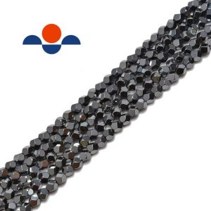 "Natural Gray Hematite Star Cut Nugget Beads 4mm 15.5"" Strand 