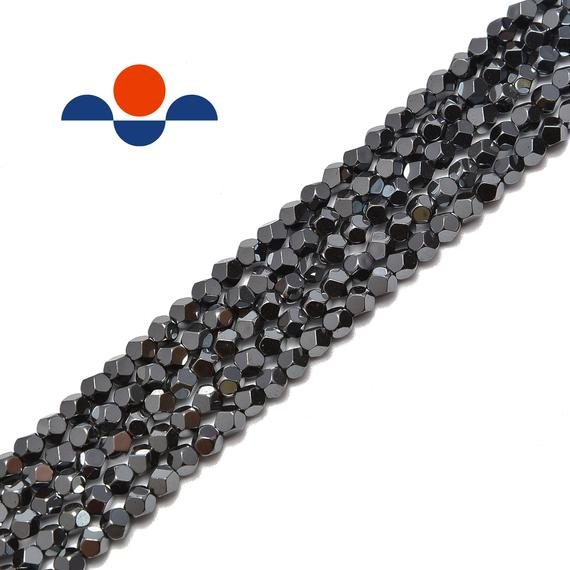 "Natural Gray Hematite Star Cut Nugget Beads 4mm 15.5"" Strand"