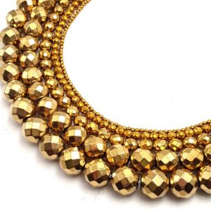 "Gold Hematite Faceted Round Beads 2mm 3mm 4mm 6mm 8mm 12mm 15.5"" Strand 