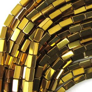 "Shop Hematite Bead Shapes! 4mm hematite side tube beads 16"" strand gold color 34995 