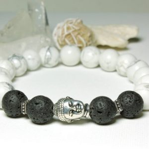 Howlite Lava Stretch Bracelet Mens Womens Black White Natural Stones Buddha Healing Protection Meditation Yoga Chakra Beaded Mala 5308 | Natural genuine Gemstone bracelets. Buy handcrafted artisan men's jewelry, gifts for men.  Unique handmade mens fashion accessories. #jewelry #beadedbracelets #beadedjewelry #shopping #gift #handmadejewelry #bracelets #affiliate #ad