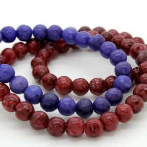 Shop Howlite Round Beads! Howlite Round Sphere Ball Natural Loose Gemstone 6mm Beads – Full Strand (Burgundy, Purple) | Natural genuine round Howlite beads for beading and jewelry making.  #jewelry #beads #beadedjewelry #diyjewelry #jewelrymaking #beadstore #beading #affiliate #ad