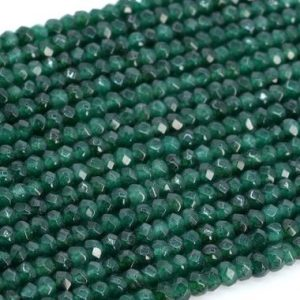 "Shop Jade Faceted Beads! 4x2mm Deep Green Jade Beads Grade Aaa Natural Gemstone Full Strand Faceted Rondelle Loose Beads 14.5"" Bulk Lot Options (107245-2322) 