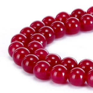 "Shop Jade Round Beads! Fuchsia Pink Dyed Jade Smooth Round Beads 4mm 6mm 8mm 10mm 15.5"" Strand 