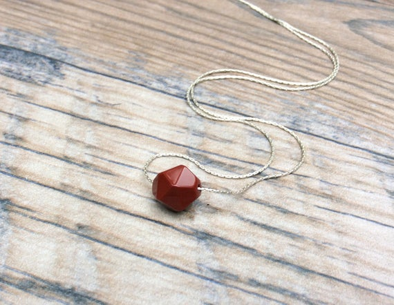 Red Jasper Choker Necklace Sterling Silver - Root Chakra - Dainty Necklace