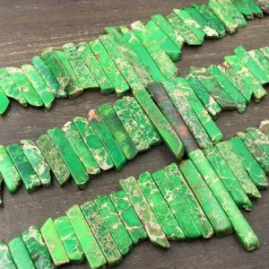 "Shop Jasper Bead Shapes! Apple Green Jasper Stick Beads Sea Sediment Jasper Slice Spike Beads Points Top Drilled Green Imperial Jasper 4-6*14-48mm 15.5"" Full Strand 