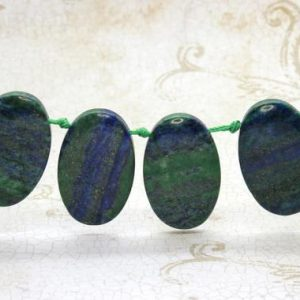 "Shop Jasper Bead Shapes! Blue Green Jasper Natural Flat Oval Smooth Gemstone Beads Loose Bead 22mm x 36mm – 15.5"" Strand 