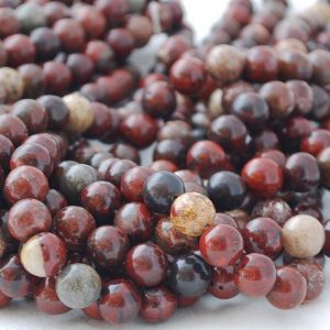 "Shop Red Jasper Beads! High Quality Grade A Natural Poppy Jasper Semi-precious Gemstone Round Beads – 4mm, 6mm, 8mm, 10mm sizes – Approx 15.5"" strand 