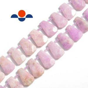 "Shop Kunzite Beads! Kunzite Graduated Faceted Trapezoid Beads 15×20 to 18x27mm 15.5"" Strand 
