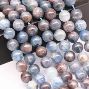 "Natural Blue Kyanite Smooth Round Beads 12mm 14mm 15.5"" Strand 