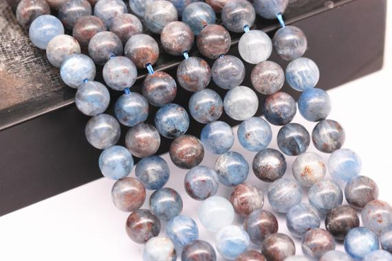 "Natural Blue Kyanite Smooth Round Beads 12mm 14mm 15.5"" Strand"