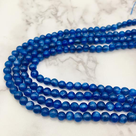 "High Quality Natural Kyanite Smooth Round Beads 4mm 6mm 8mm 15.5"" Strand"