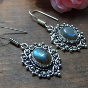 Natural Fiery LABRADORITE Sterling silver Dangle Earrings – Natural Stone Earrings – Boho chic Earrings – Labradorite Earrings | Natural genuine Gemstone earrings. Buy crystal jewelry, handmade handcrafted artisan jewelry for women.  Unique handmade gift ideas. #jewelry #beadedearrings #beadedjewelry #gift #shopping #handmadejewelry #fashion #style #product #earrings #affiliate #ad