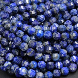 "Geometric Lantern Faceted Natural Blue Lapis Lazuli 10mm Round Sparkling Golden Pyrite Gemstone Good For Earring Pair Bead 15.5"" Strand 