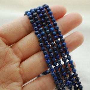 "Shop Lapis Lazuli Faceted Beads! High Quality Grade A Natural Lapis Lazuli Semi-Precious Gemstone FACETED Round Beads – approx 4mm – 15.5"" strand 