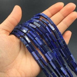 Lapis Lazuli Tube Beads Lapis Rectangle Tube Beads Gemstone Beads Blue Lapis Blue Semiprecious beads 4x14mm High Quality Jewelry Supplies | Natural genuine other-shape Lapis Lazuli beads for beading and jewelry making.  #jewelry #beads #beadedjewelry #diyjewelry #jewelrymaking #beadstore #beading #affiliate #ad