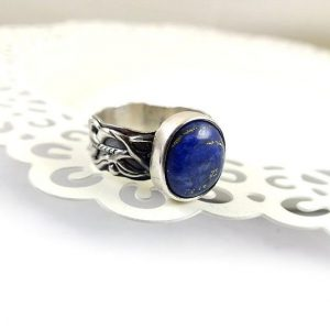 Shop Lapis Lazuli Jewelry! Sterling silver metalwork ring with blue lapis, ornament band | Natural genuine Lapis Lazuli jewelry. Buy crystal jewelry, handmade handcrafted artisan jewelry for women.  Unique handmade gift ideas. #jewelry #beadedjewelry #beadedjewelry #gift #shopping #handmadejewelry #fashion #style #product #jewelry #affiliate #ad