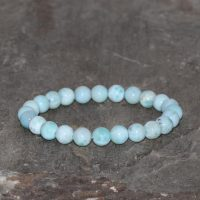 Larimar Bracelet Handmade 7mm-7.5mm Dominican Larimar Gemstone Bracelet Natural Dominican Beaded Larimar Sky Blue Grade Aa+ Larimar Bracelet | Natural genuine Gemstone jewelry. Buy crystal jewelry, handmade handcrafted artisan jewelry for women.  Unique handmade gift ideas. #jewelry #beadedjewelry #beadedjewelry #gift #shopping #handmadejewelry #fashion #style #product #jewelry #affiliate #ad