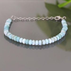 Shop Larimar Bracelets! Larimar Bracelet, Natural Larimar Faceted Rondelle Beads Bracelet, Larimar Jewelry, Larimar Stone, Light Blue Gemstone Silver Bracelet | Natural genuine Larimar bracelets. Buy crystal jewelry, handmade handcrafted artisan jewelry for women.  Unique handmade gift ideas. #jewelry #beadedbracelets #beadedjewelry #gift #shopping #handmadejewelry #fashion #style #product #bracelets #affiliate #ad