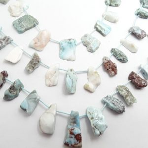 "Shop Larimar Chip & Nugget Beads! Larimar Graduated Freeform Slab Slice Nugget Beads Approx 13-33mm 15.5"" Strand 