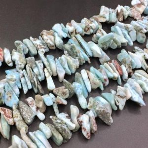 "Shop Larimar Chip & Nugget Beads! Polished Larimar Chip Beads Larimar Nugget Beads Large Freeform Larimar Shard Beads Stick Gemstone Beads 15-30mm 15.5"" Strand 