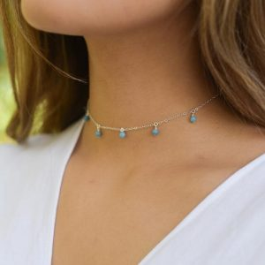 "Shop Larimar Necklaces! Boho aqua blue larimar dangle bead drop choker necklace in bronze, silver, gold or rose gold – 12"" with 2"" adjustable extender 