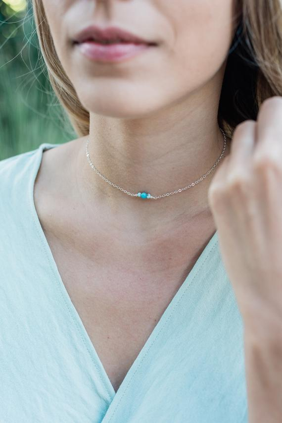 """Dainty Aqua Blue Larimar Gemstone Thin Choker Necklace In Bronze, Silver, Gold Or Rose Gold - 12"""" With 2"""" Adjustable Extender"""