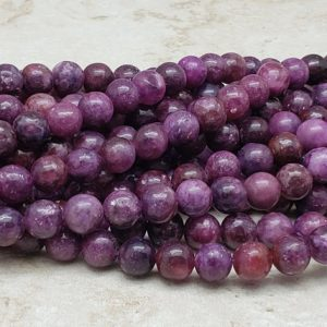 Shop Lepidolite Beads! 4mm or 6mm or 8mm Lepidolite Polished Round Beads, 15 inch | Natural genuine round Lepidolite beads for beading and jewelry making.  #jewelry #beads #beadedjewelry #diyjewelry #jewelrymaking #beadstore #beading #affiliate #ad