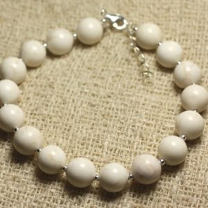 Shop Magnesite Bracelets! Bracelet 925 sterling silver and semi precious – Magnesite 8 mm | Natural genuine Magnesite bracelets. Buy crystal jewelry, handmade handcrafted artisan jewelry for women.  Unique handmade gift ideas. #jewelry #beadedbracelets #beadedjewelry #gift #shopping #handmadejewelry #fashion #style #product #bracelets #affiliate #ad