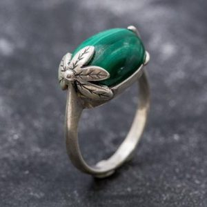 Shop Malachite Rings! Green Leaf Ring, Malachite Ring, Vintage Rings, Natural Malachite, Horizontal Ring, Green Ring, Silver Ring, Real Malachite, Green Malachite | Natural genuine Malachite rings, simple unique handcrafted gemstone rings. #rings #jewelry #shopping #gift #handmade #fashion #style #affiliate #ad