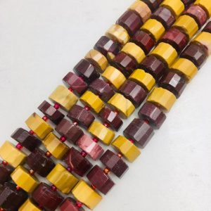 "Mookaite Faceted Rondelle Wheel Discs Beads Approx 11-12mm 15.5"" Strand 