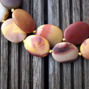 Matte Mookaite jasper freeform beads 17-24mm (ETB00519) Unique jewelry/Vintage jewelry/Gemstone necklace | Natural genuine other-shape Mookaite beads for beading and jewelry making.  #jewelry #beads #beadedjewelry #diyjewelry #jewelrymaking #beadstore #beading #affiliate #ad
