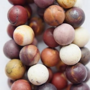 "Shop Mookaite Beads! Genuine Matte Mookaite Beads – Round 8 mm Gemstone Beads – Full Strand 15"", 49 beads, A+ Quality 
